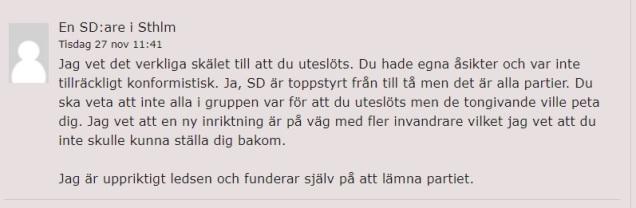 Kommentar SDare Stockholm
