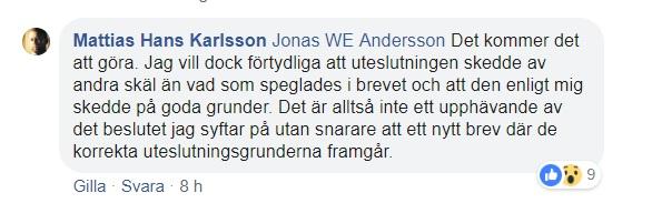 Mattias Karlsson FB 20181221 svar