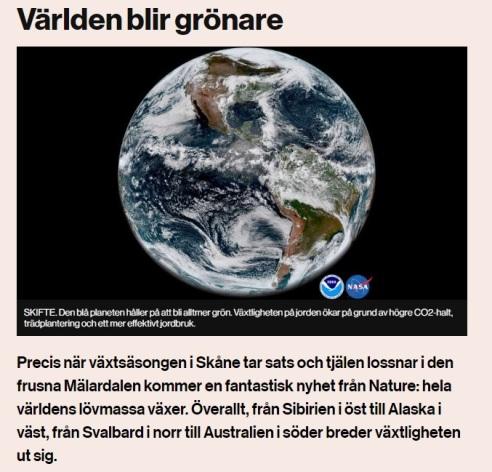 Jorden blir grönare
