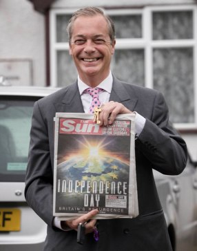 Nigel Farage votes in the EU referendum