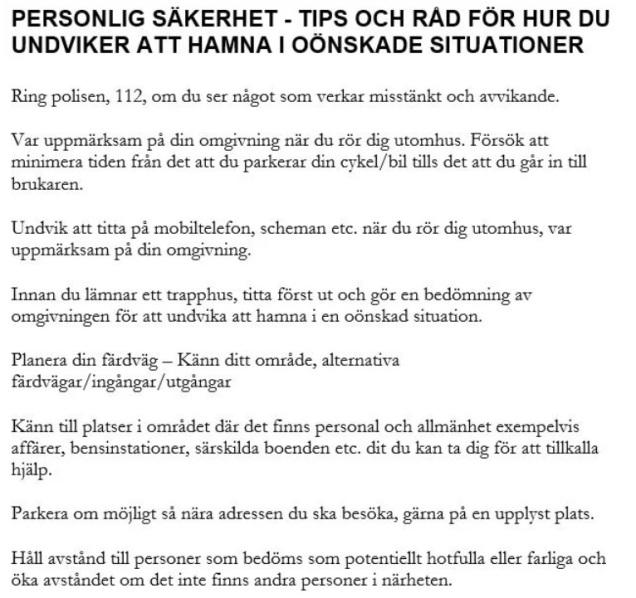 Malmö regler personal