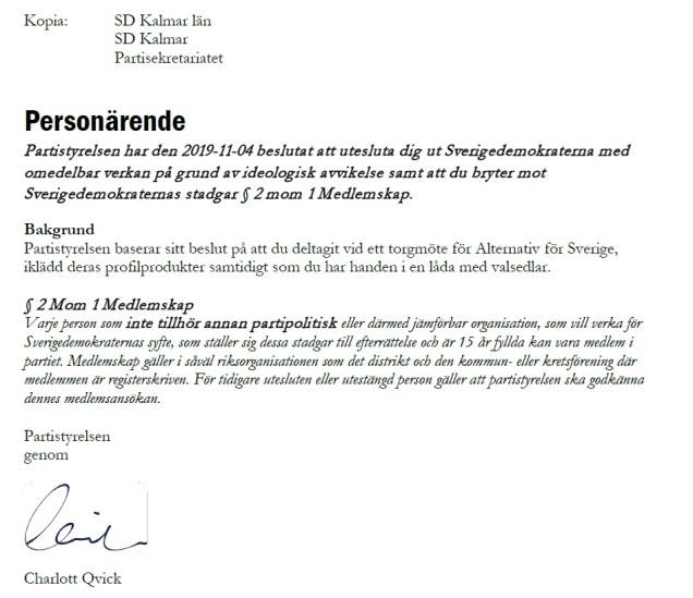 Uteslutning av Lars Pettersson