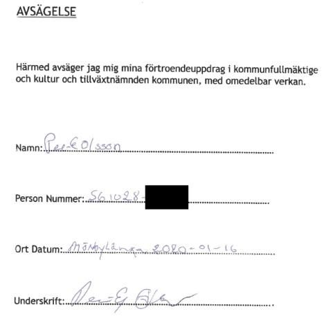 Avsägelse PG Olsson